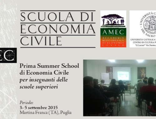 Prima Summer School di Economia Civile per insegnanti delle scuole superiori – Andrea Cruciani tra i docenti