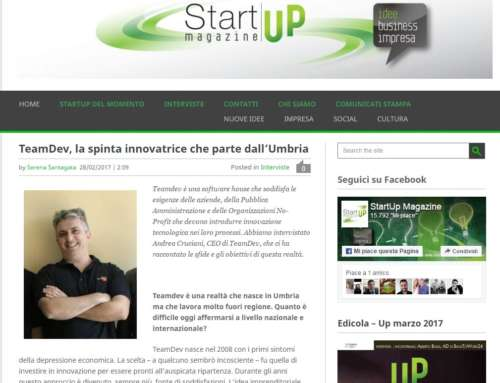 "StartUp Magazine: ""TeamDev, la spinta innovatrice che parte dall'Umbria"""